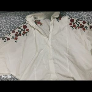Floral design white blouse